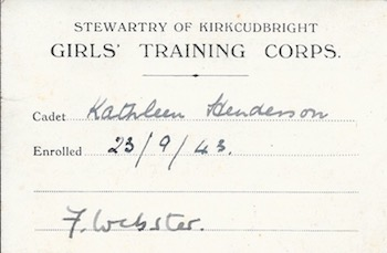 Girls Training Corps card- Kathleen Henderson (Roberts)